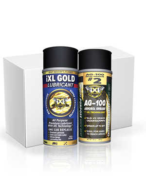 Aerosol Mixed Case iXL aerosol mixed case, ixl bundle, ixl gold lubricant, ixl ag-100, spray grease, pen lube